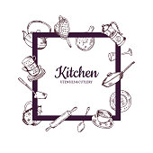 Vector frame with hand drawn kitchen utensils flying around it with place for text in center illustration