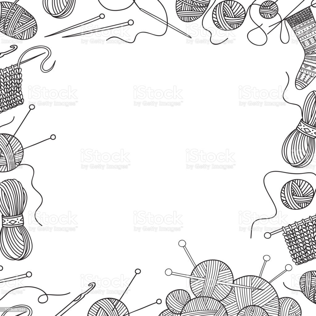 Vector frame with knitting tools and yarn vector art illustration