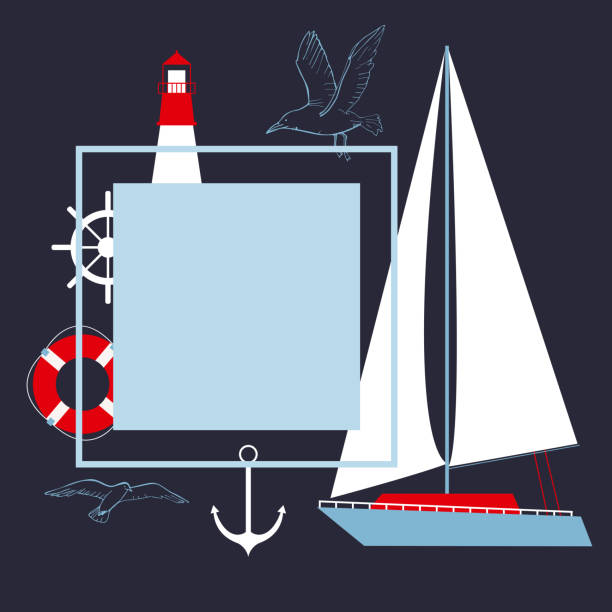 illustrazioni stock, clip art, cartoni animati e icone di tendenza di telaio vettoriale con yacht e faro. - ambientazione tranquilla