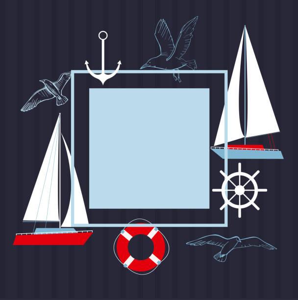 illustrazioni stock, clip art, cartoni animati e icone di tendenza di telaio vettoriale con yacht. - ambientazione tranquilla
