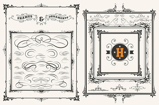 Vector. Frames and ornaments set. 37 elements