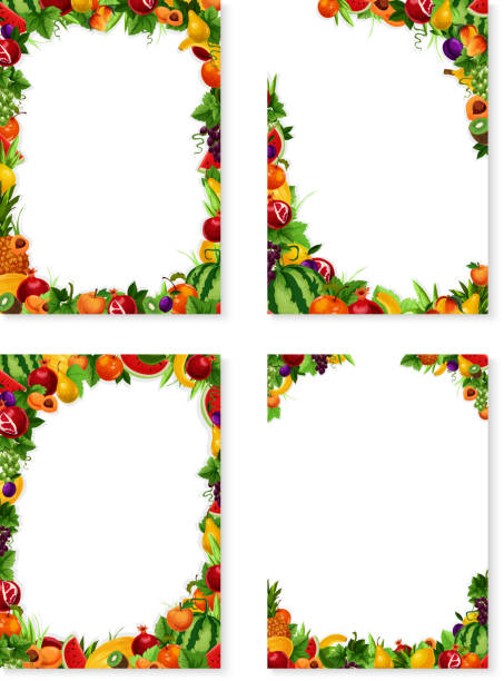 Vector frames set of exotic fresh fruits Exotic fruits frames templates set of fresh fruit harvest. Vector design of apricot, peach or mango and papaya, farm fresh watermelon, pineapple or lemon citrus and plum or garden apple and avocado banana borders stock illustrations