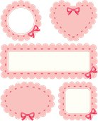 Various frames with ribbon and bow, vector illustration
