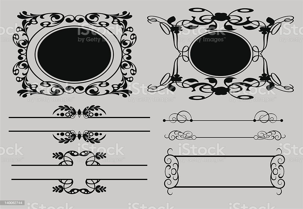 Vector Frames Vintage set 15 royalty-free stock vector art