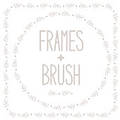 Vector frames with doodle leaves and dots + brush