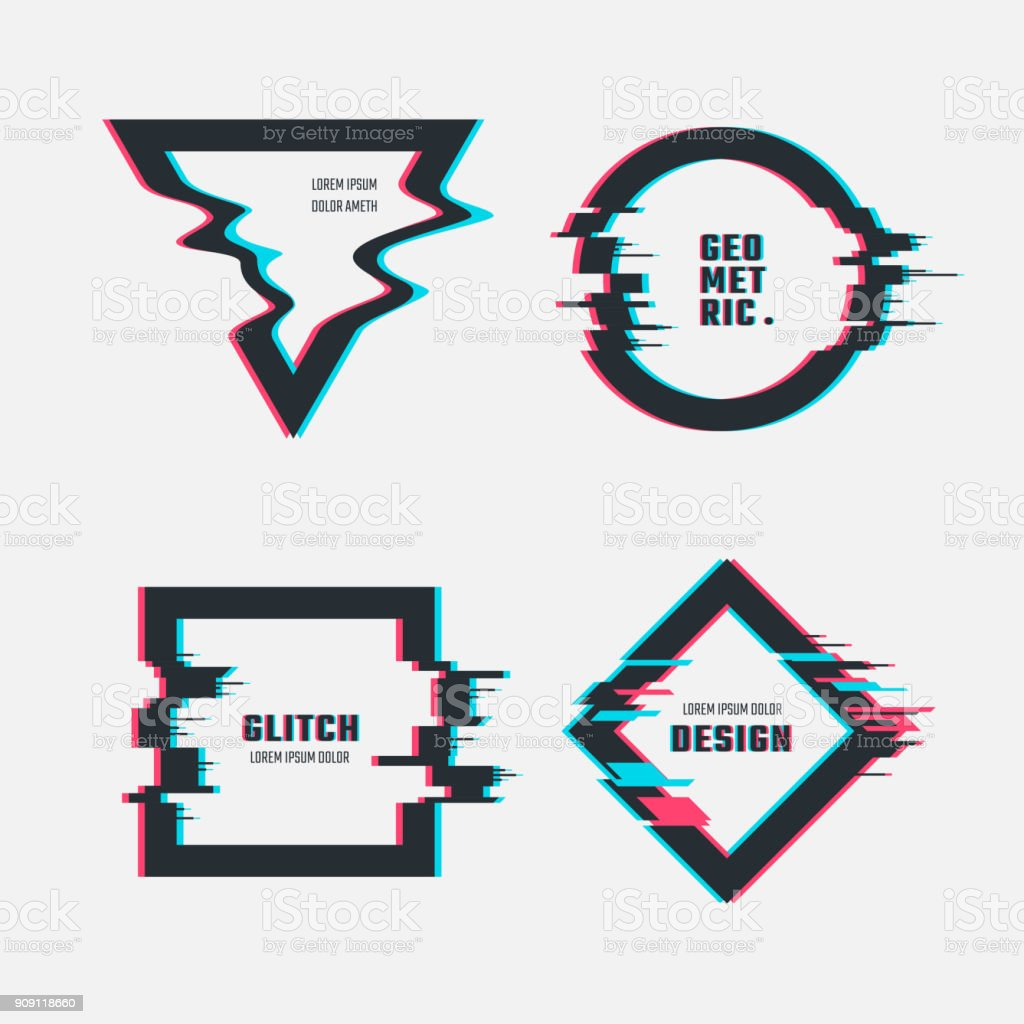 Vector frames with glitch tv distortion effect vector art illustration