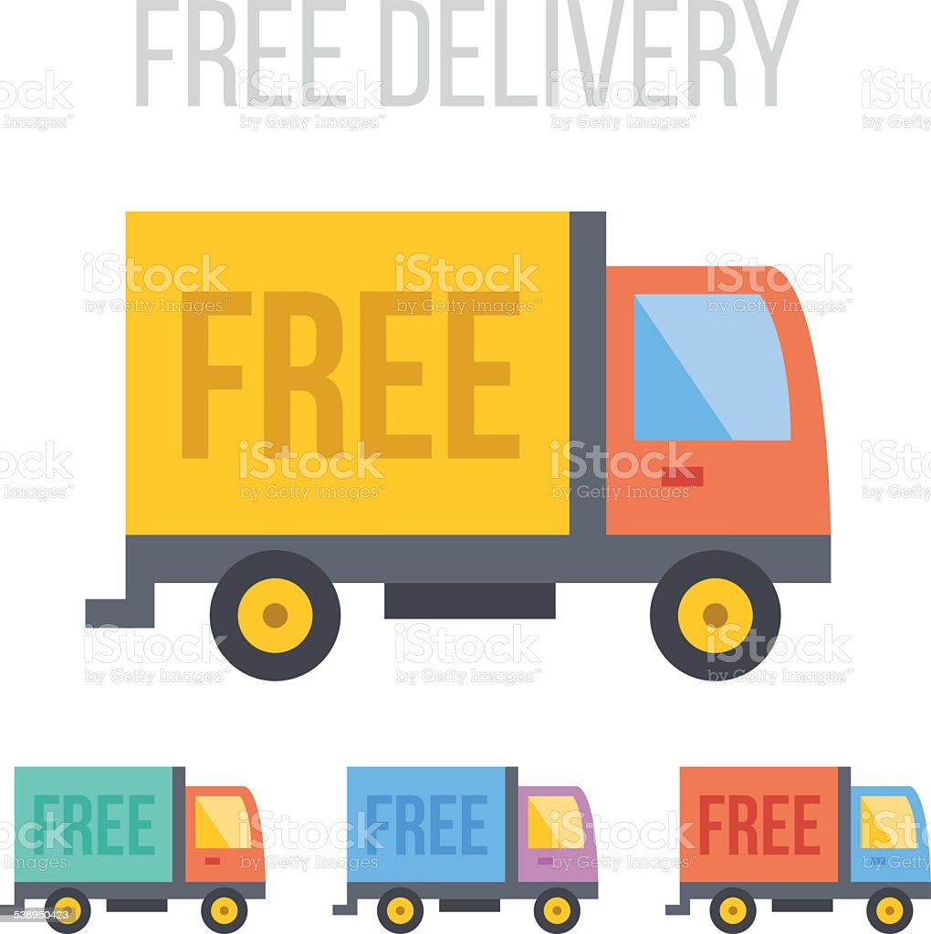 Vector Free Delivery Truck Icons Stock Illustration Download Image Now Istock