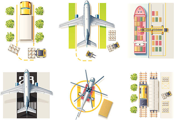 vektor fracht und transport-icon-set - frachtpaletten stock-grafiken, -clipart, -cartoons und -symbole