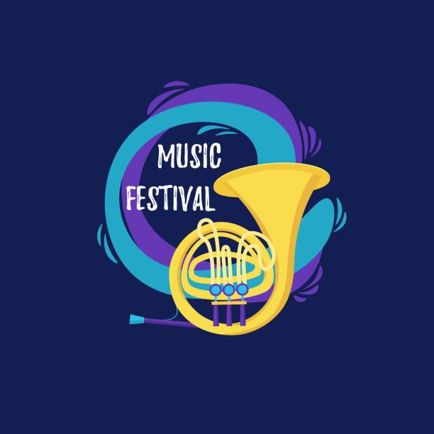 vector french horn in flat style design.  music instrument. template for music festival banner, poster, concert, invitation, greeting card. - waltornista stock illustrations
