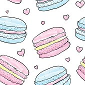 Vector French Macaron Seamless Pattern