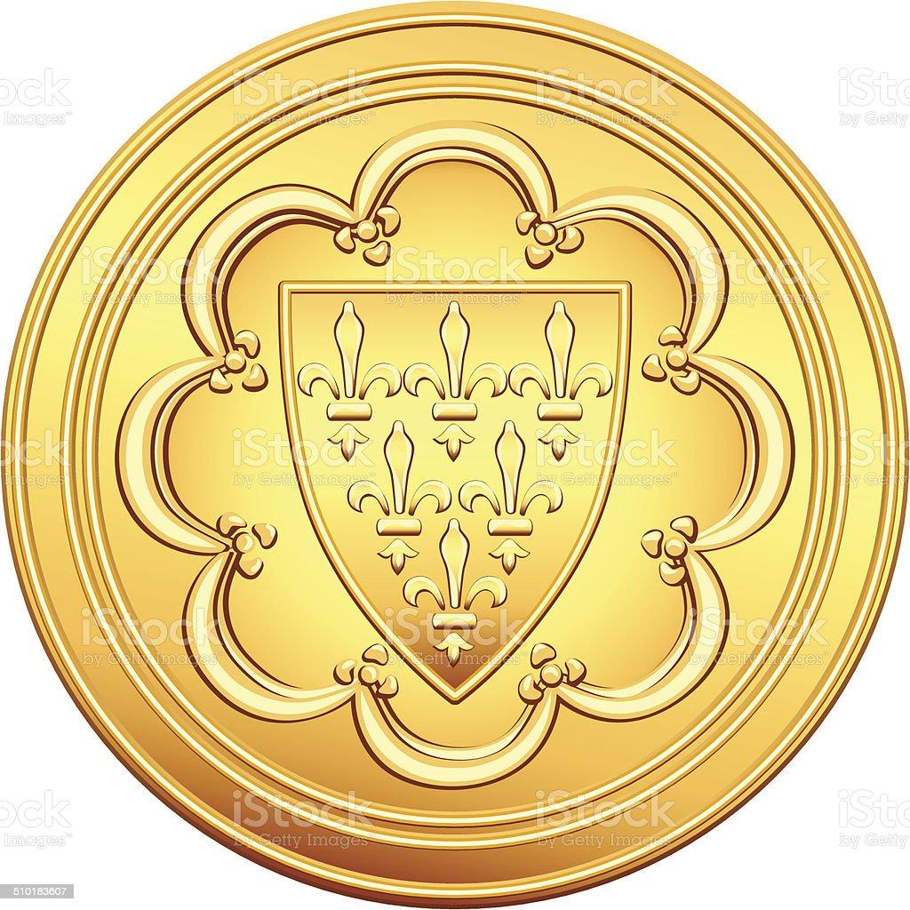 vector French money ecu gold coin vector art illustration