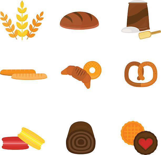 vector fresh baked bread products icons - metallwarenkorb stock-grafiken, -clipart, -cartoons und -symbole