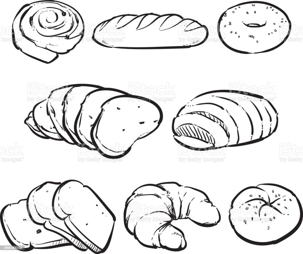 Vector Fresh Bread On A White Background Hand Drawn Bakery