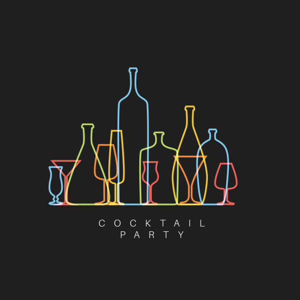 vector fresh cocktail party invitation card with glasses and bottles - alcohol drink silhouettes stock illustrations