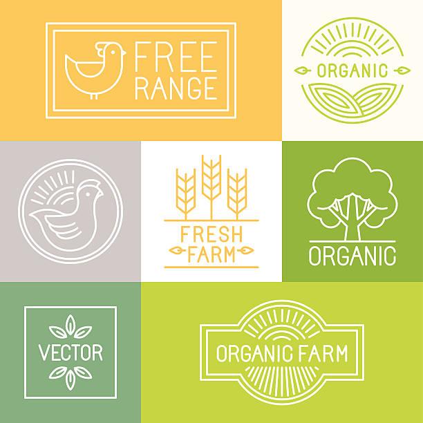 vector fresh farm and free range labels - corn field stock illustrations, clip art, cartoons, & icons
