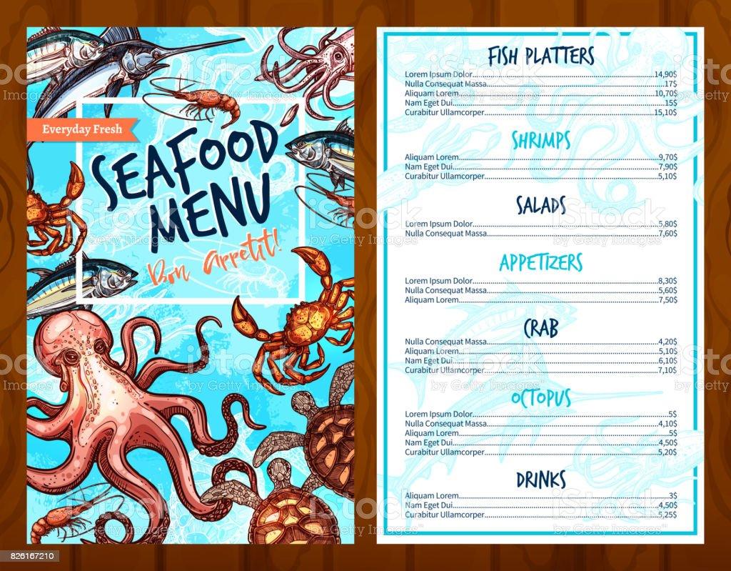 Vector fresh seafood and fish food restaurant menu vector art illustration
