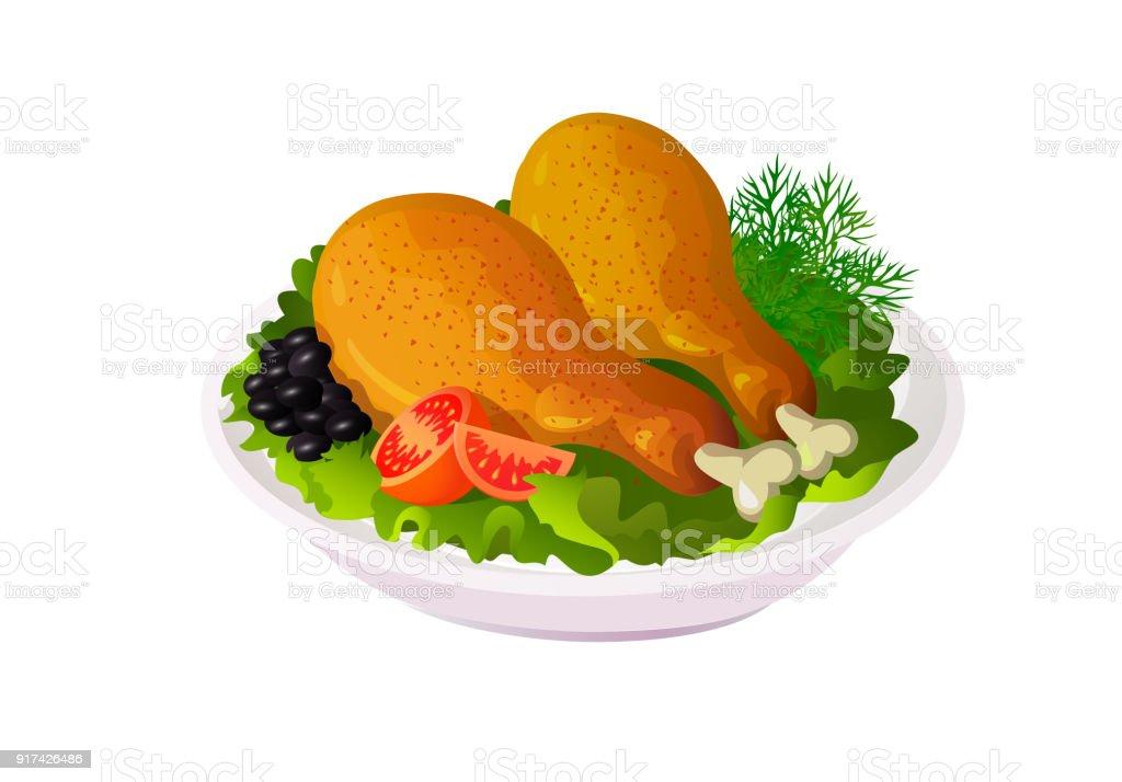 Ilustración de Muslo De Pollo Frito De Vector Con Ensalada Y Tomates ...
