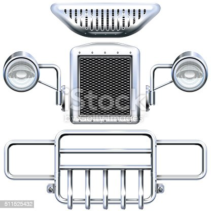 Vector Front Car Parts, including bumper, headlamp, car horn and other auto chrome spares, isolated on white background