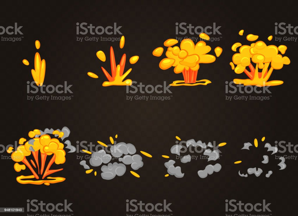 Vector Front Cartoon Boom Explosion Effect With Smoke Smooth Flash