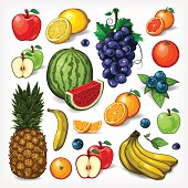 A complete set of vectored fruit illustrations. EPS 10 file, layered & grouped, with meshes and transparencies (shadows & overall effects only).
