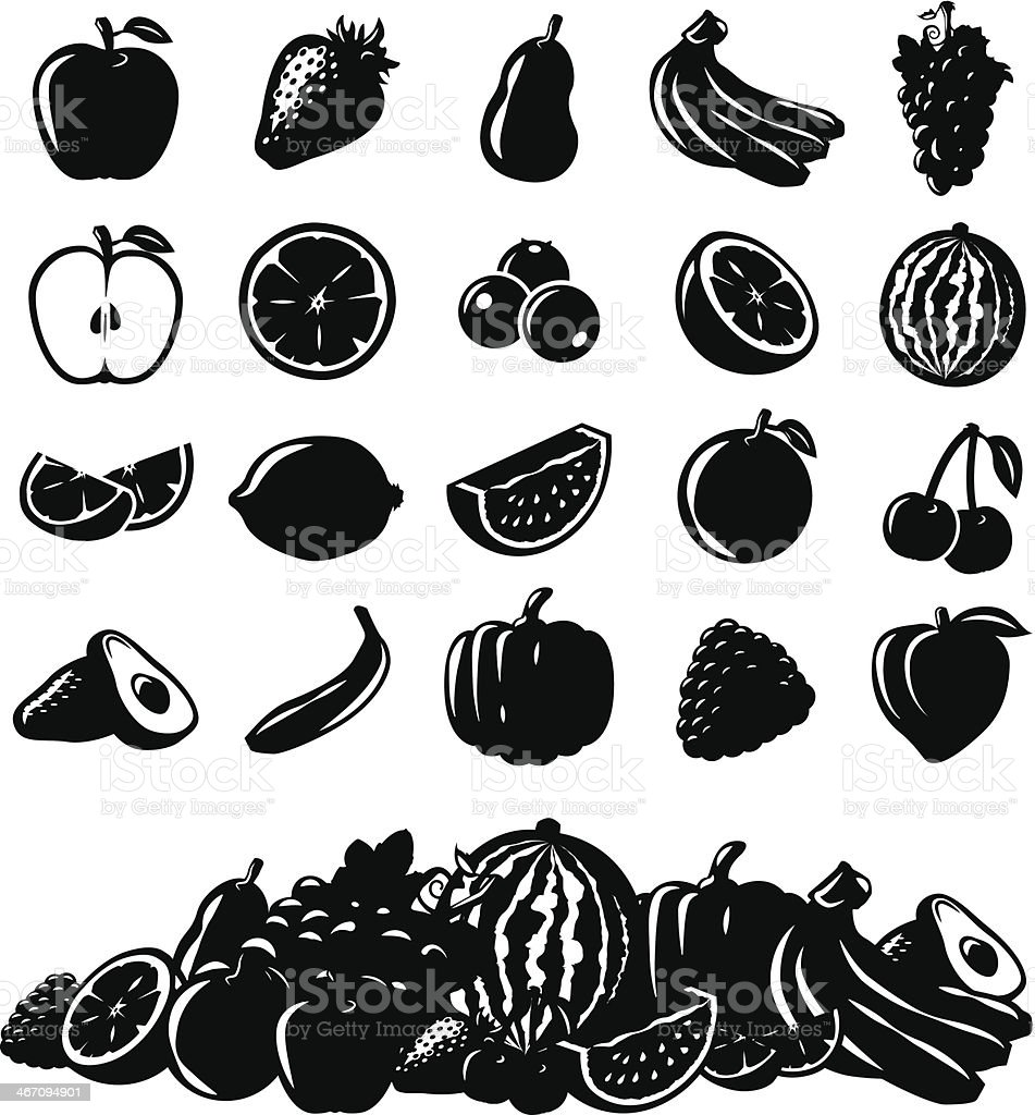 Vector Fruit Icons royalty-free stock vector art