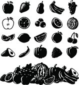 A set of vector fruit icons. EPS 10 file, layered & grouped, with meshes and transparencies (shadows & overall effects only).