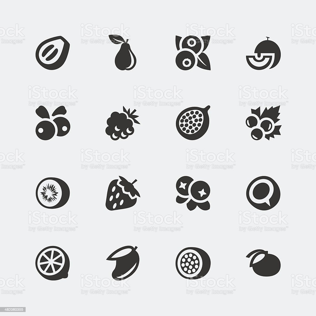 Vector fruits and berries mini icons set #2 vector art illustration