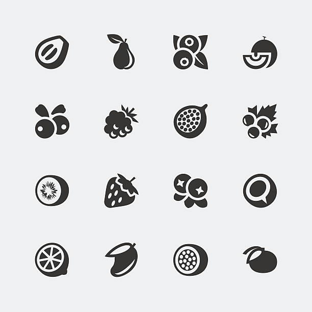 stockillustraties, clipart, cartoons en iconen met vector fruits and berries mini icons set #2 - bessen