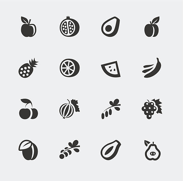 Vector fruits and berries mini icons set Vector fruits and berries mini icons set avocado silhouettes stock illustrations