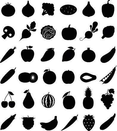 Vector Fruits and Vegetables Icons Isolated on White