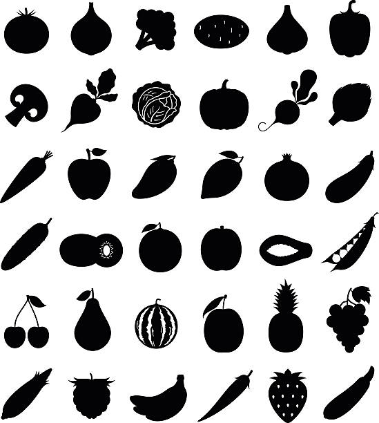 Vector Fruits and Vegetables Icons Isolated on White Vector vegetables and fruits flat icons set for grocery, food shop, organic product label, packaging and advertising. fruit silhouettes stock illustrations