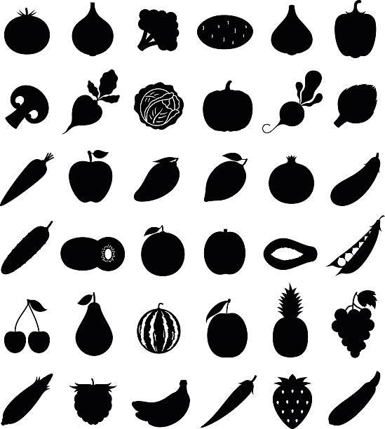 illustrazioni stock, clip art, cartoni animati e icone di tendenza di vettoriale di frutta e verdura icone sola su bianco - aglio cipolla isolated