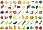 Vector vegetables and fruits icons set for groceries, agriculture stores, packaging and advertising