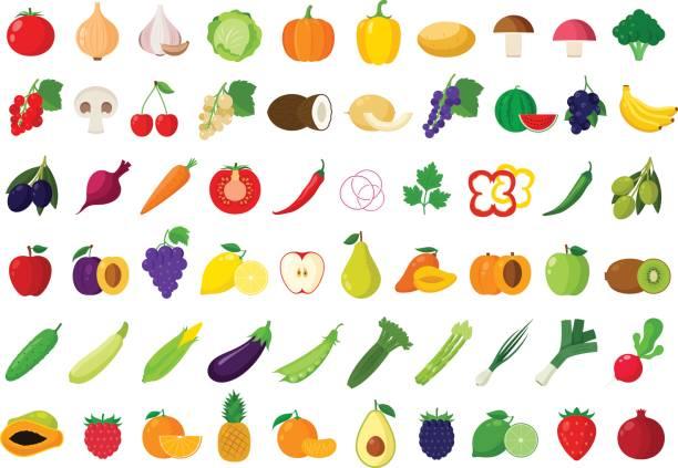 ilustraciones, imágenes clip art, dibujos animados e iconos de stock de iconos de frutas y verduras de vectores - fruta