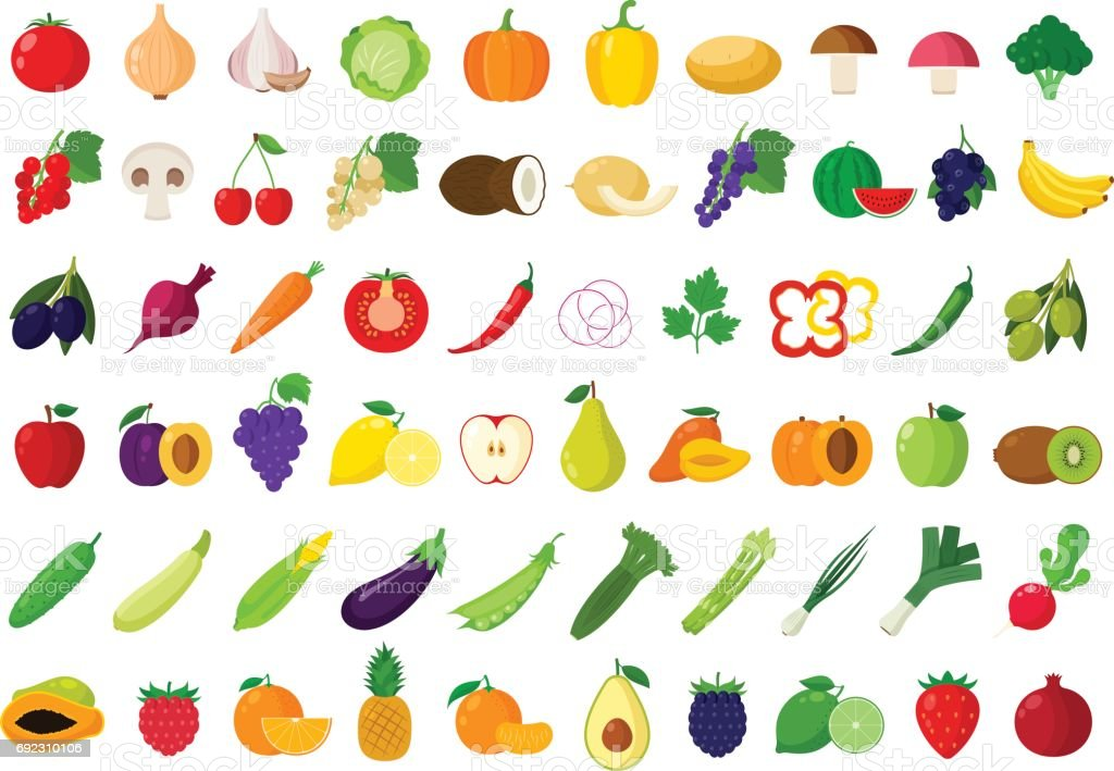 Vector fruits and vegetables icons vector art illustration