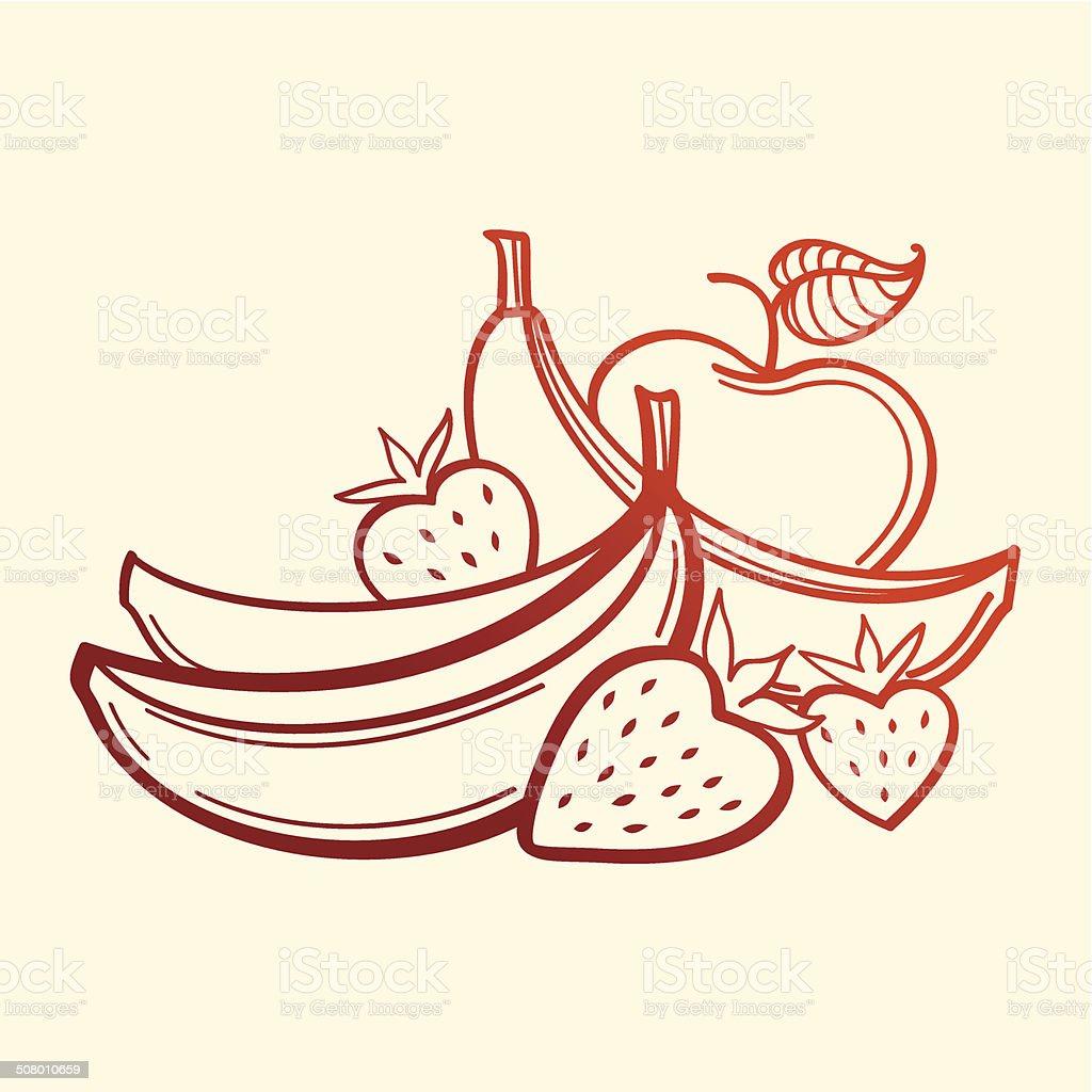 Vektor Obst.  Bananen, Erdbeere Linie Kunst und apple