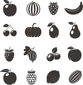 Vector Fruits Black Icons