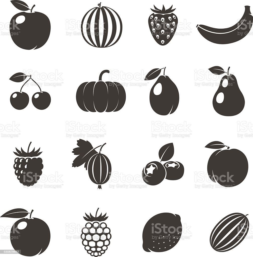 Vector Fruits Black Icons vector art illustration