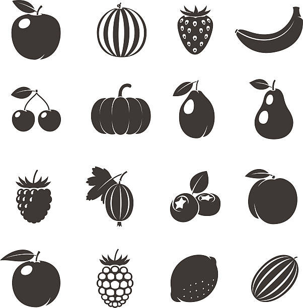 Vector Fruits Black Icons Fruits Black Icons. Different fruits icons on white background. Vector illustration fruit silhouettes stock illustrations
