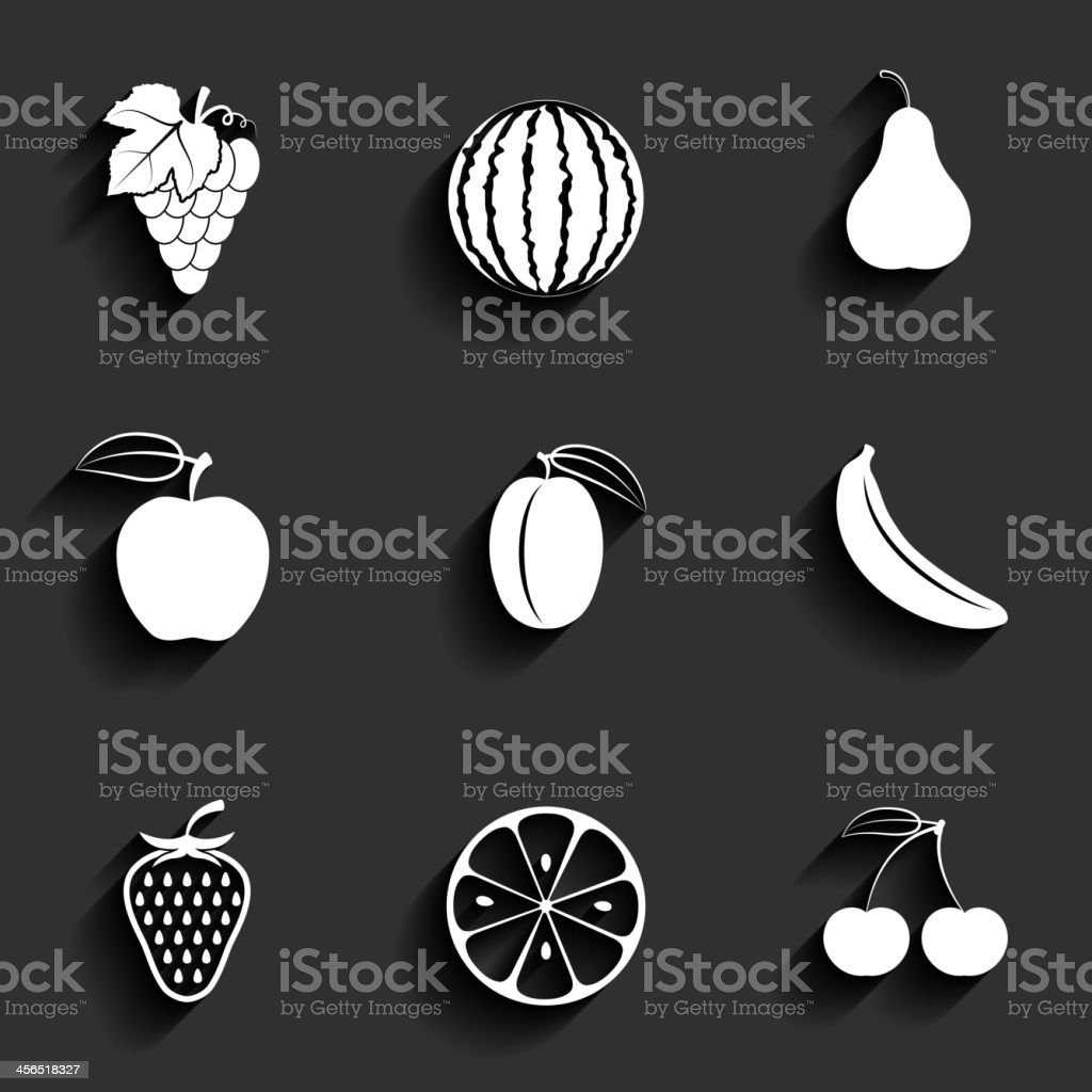 Vector fruits flat icon set royalty-free stock vector art