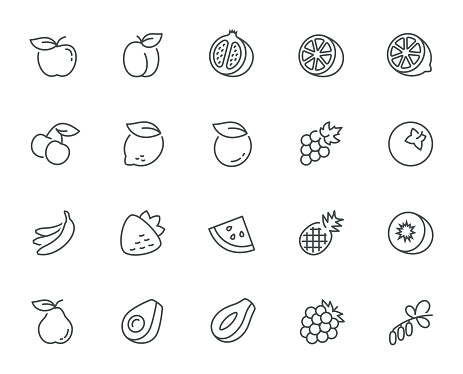 Vector Fruits Icon Set In Thin Line Style Stock Illustration - Download Image Now