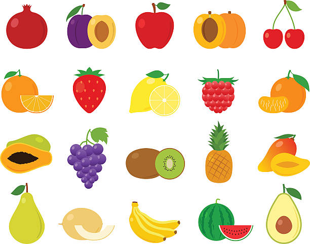 Vector Fruits Icons Vector fruits flat icons set isolated on white avocado silhouettes stock illustrations