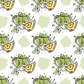 Vector fruits seamless pattern. Apple with leaves, decorative elements, blots, drops, splash Hand drawn contour lines and strokes Doodle sketch style, graphic vector drawing illustration