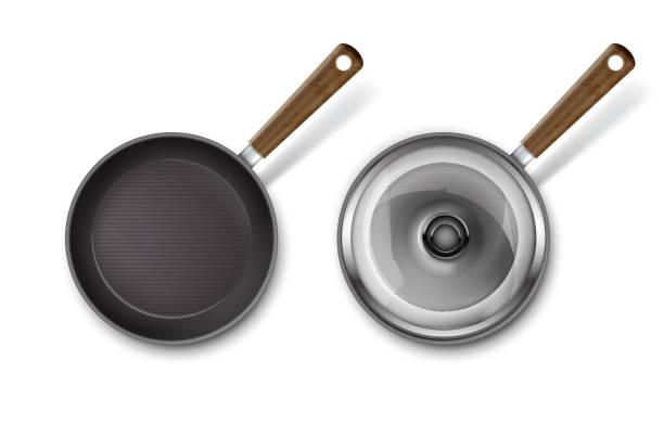 bildbanksillustrationer, clip art samt tecknat material och ikoner med vector stekpanna - frying pan