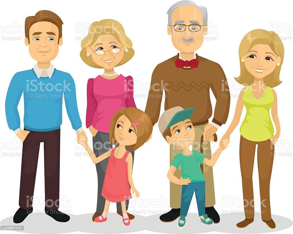Vector Plano Ilustración De Dibujos Animados De La Familia ...