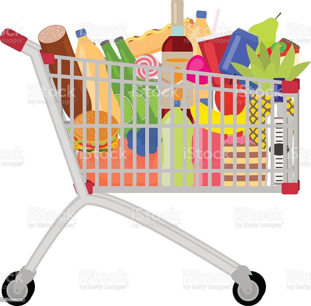 Vector full food meal drink a shopping trolley vector art illustration