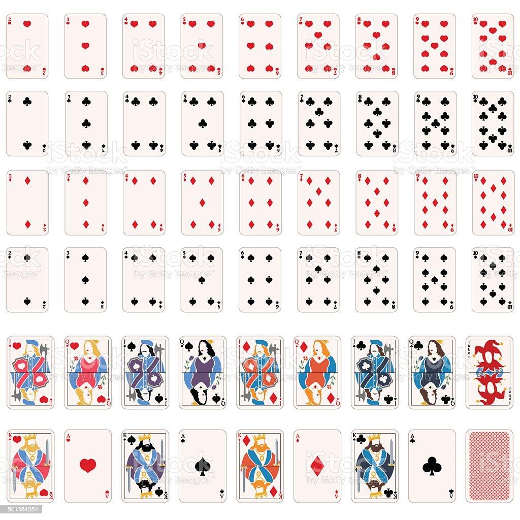 Vetores conjunto completo de cartas de baralho - ilustração de arte em vetor