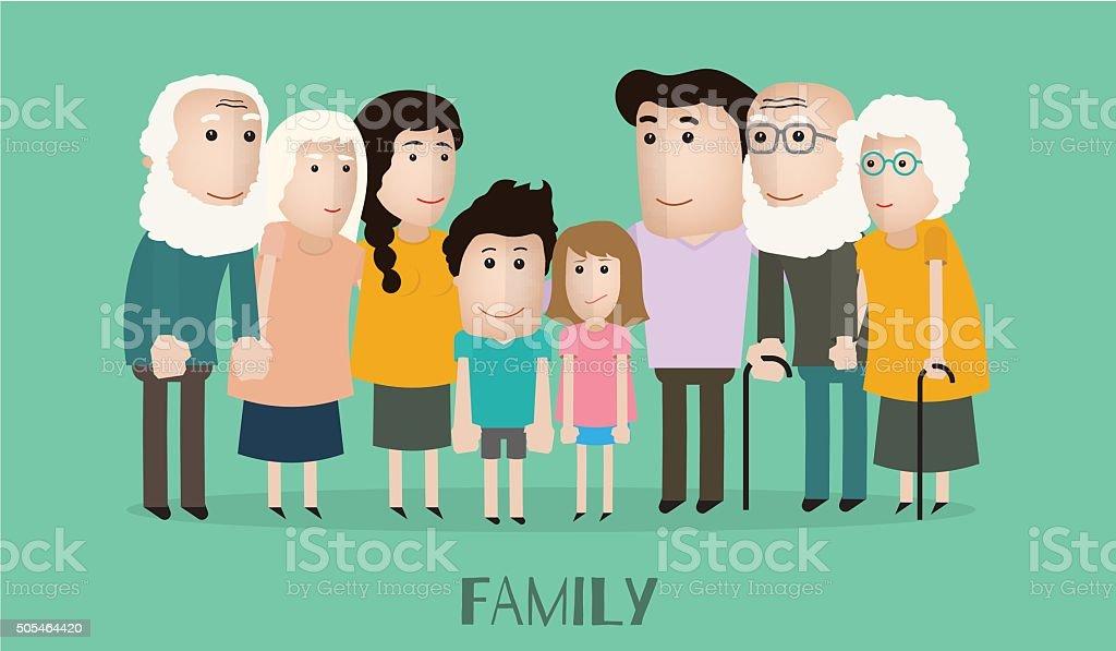 Vektor Lustige Familie Stock Vektor Art Und Mehr Bilder Von Alt