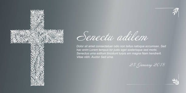 Vector Funeral card template Funeral card template with golden cross made from leafs on silver background grief stock illustrations