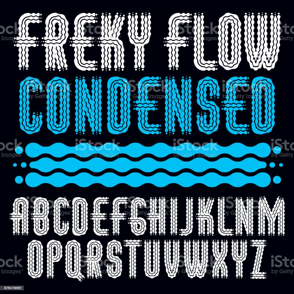 Vector funky capital English alphabet letters collection. Rounded bold condensed retro font, typescript. Created using waves, flowing lines. vector art illustration